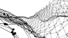 Абстрактные простые черно-белые развевая решетка 3D или сетка как декоративная окружающая среда Серая геометрическая вибрируя окр иллюстрация вектора