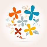 Абстрактные ретро цветки вектора Стоковые Изображения RF