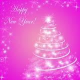 Абстрактные розовые предпосылка зимнего отдыха/поздравительная открытка Стоковое Изображение RF