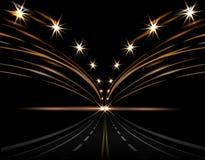 Абстрактные световые эффекты разлейте головку по бутылкам руки автомобиля его светлое вино силуэта человека одного светов Дорога  иллюстрация штока