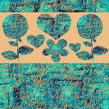 Абстрактные сердца и цветки коллажа на предпосылке цвета иллюстрация штока