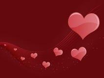 абстрактные сердца предпосылки красные Стоковые Изображения RF