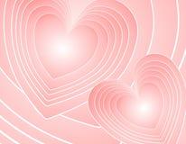 абстрактные сердца предпосылки pink ретро Стоковое Изображение