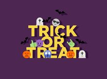 Абстрактные смешные плоские фокус хеллоуина стиля или emoji обслуживания Стоковое фото RF