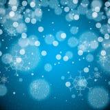 Абстрактные снежинки сини зимы Стоковое Изображение RF