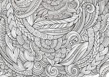 Абстрактные схематичные декоративные doodles вручают вычерченную этническую картину Стоковые Фото