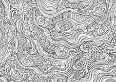 Абстрактные схематичные декоративные doodles вручают вычерченную этническую картину Стоковые Изображения