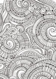 Абстрактные схематичные декоративные doodles вручают вычерченную этническую картину Стоковое фото RF