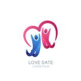 Абстрактные счастливые люди и сердце Шаблон дизайна логотипа вектора Иллюстрация человека и женщины, семьи или пар Стоковое фото RF