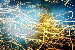 Абстрактные трассировки движений и цветов контраста запачканных светом Стоковая Фотография
