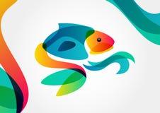 Абстрактные тропические рыбы на красочной предпосылке, templ дизайна логотипа Стоковая Фотография