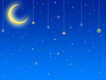 Абстрактные луна и звезды предпосылки Стоковая Фотография RF