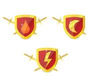 Абстрактные установленные эмблемы силы золота Стоковая Фотография RF