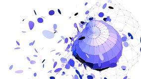 Абстрактные фиолетовые развевая решетка 3D или сетка пульсируя геометрических объектов Польза как абстрактная психоделическая пре иллюстрация вектора