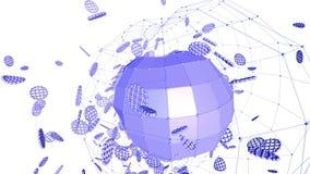Абстрактные фиолетовые развевая решетка 3D или сетка пульсируя геометрических объектов Польза как абстрактная сюрреалистическая м бесплатная иллюстрация
