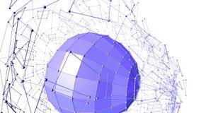 Абстрактные фиолетовые развевая решетка 3D или сетка пульсируя геометрических объектов Польза как абстрактный ландшафт игры Фиоле иллюстрация штока