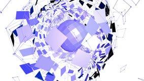 Абстрактные фиолетовые развевая решетка 3D или сетка пульсируя геометрических объектов Польза как абстрактная геометрическая сетк иллюстрация штока
