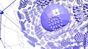 Абстрактные фиолетовые развевая решетка 3D или сетка пульсируя геометрических объектов Польза как абстрактная окружающая среда ко иллюстрация штока
