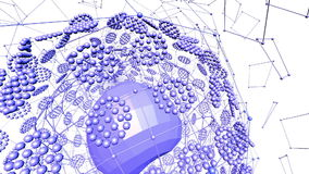 Абстрактные фиолетовые развевая решетка 3D или сетка пульсируя геометрических объектов Польза как абстрактное научное визуализиро иллюстрация вектора