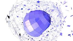 Абстрактные фиолетовые развевая решетка 3D или сетка пульсируя геометрических объектов Польза как абстрактный ландшафт научной фа иллюстрация штока