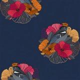 Абстрактные флористические безшовные картина, птица и цветок Иллюстрация вектора