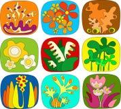 абстрактные флористические иконы Стоковое Изображение RF