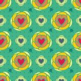 абстрактные флористические сердца делают по образцу безшовное Стоковое Изображение RF