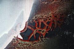 Абстрактные формы на стене сформированной треснутой высушенной краской Стоковые Изображения RF