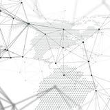 Абстрактные футуристические формы сети Высокотехнологичная предпосылка, соединяясь линии и точки, полигональная линейная текстура Стоковая Фотография RF