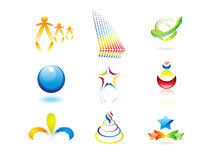 абстрактные цветастые иконы элементов конструкции иллюстрация штока