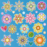 абстрактные цветастые сердца цветков самомоднейшие иллюстрация вектора