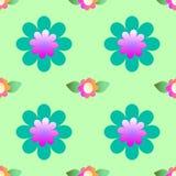 Абстрактные цветки на зеленой предпосылке, безшовной картине Стоковое фото RF