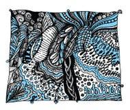 Абстрактные чернота, белизна и синь zentangle стоковое фото
