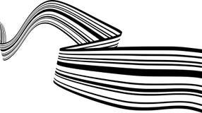 Абстрактные черно-белые нашивки ровно согнули форму ленты геометрическую стоковое фото