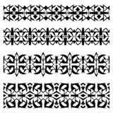 Абстрактные черные геометрические безшовные установленные границы Стоковые Фотографии RF