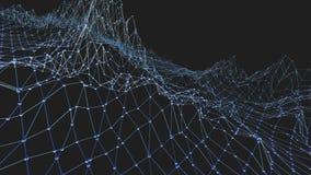 Абстрактные чистые голубые развевая решетка 3D или сетка как предпосылка CG Голубая геометрическая вибрируя окружающая среда или  иллюстрация вектора
