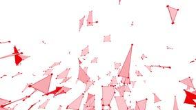 Абстрактные чистые красные развевая решетка 3D или сетка как предпосылка CG Красная геометрическая вибрируя окружающая среда или  иллюстрация штока