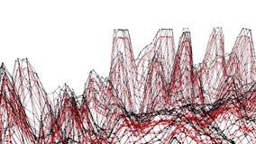 Абстрактные чистые красные развевая решетка 3D или сетка как предпосылка сложности Красная геометрическая вибрируя окружающая сре иллюстрация вектора