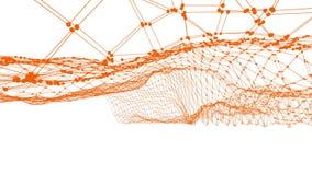 Абстрактные чистые оранжевые развевая решетка 3D или сетка как красивая предпосылка Оранжевая геометрическая вибрируя окружающая  бесплатная иллюстрация