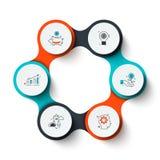 Абстрактные элементы диаграммы цикла с 6 шагами, вариантами или процессами Творческая концепция для infographic Стоковое Изображение