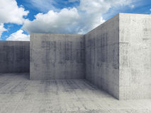 Абстрактные 3d опорожняют конкретный интерьер под голубым небом Стоковое Изображение