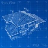 Абстрактные 3D представляют wireframe здания - Vector иллюстрация стоковая фотография rf