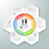 Абстрактные 3d infographic 6 вариантов, концепция дела infographic Стоковое Изображение RF