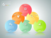 Абстрактные 3d infographic 6 вариантов, концепция дела infographic Стоковая Фотография