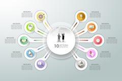 Абстрактные 3d infographic 10 вариантов, концепция дела infographic Стоковое фото RF
