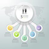 Абстрактные 3d infographic 5 вариантов, концепция дела infographic Стоковые Фотографии RF