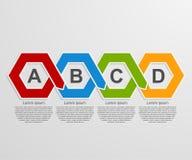 Абстрактные infographics шестиугольника бумаги 3D или шаблон срока Стоковое фото RF