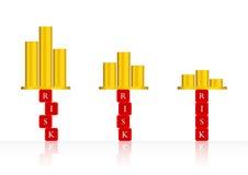 Абстрактные levelheight риска предпосылки, средство, низкий уровень и концепция рентабельности инвестиций; Возвращение высоты рис стоковое изображение