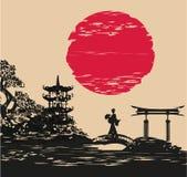Абстрактный азиатский ландшафт и красивая азиатская девушка иллюстрация вектора