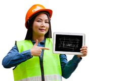 Абстрактный азиатский инженер женщины с изолированной предпосылкой стоковое изображение